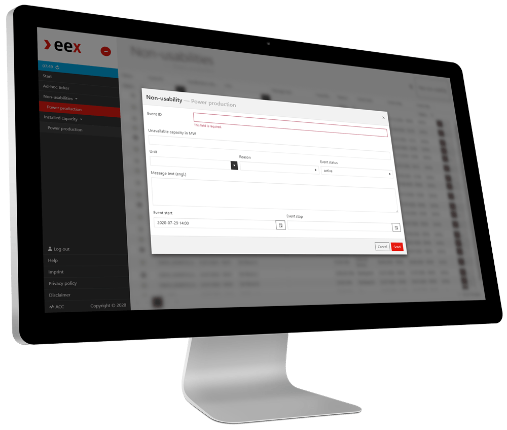 Screenshot of the EEX Inside Information Messenger demo